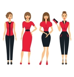 Set of business clothes for women woman in office vector