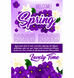 Spring season holidays floral poster template vector