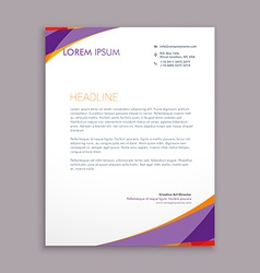 Stylish purple wave letterhead design vector