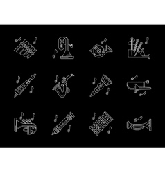 Wind instruments store white line icons vector