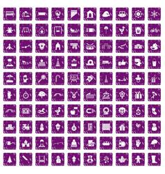100 kindergarten icons set grunge purple vector image vector image