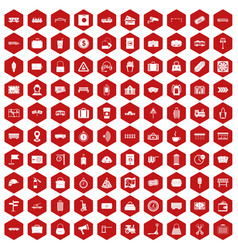 100 railway icons hexagon red vector