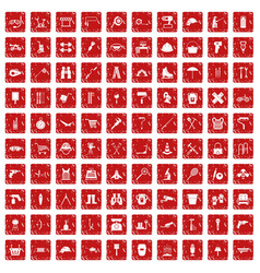 100 tackle icons set grunge red vector