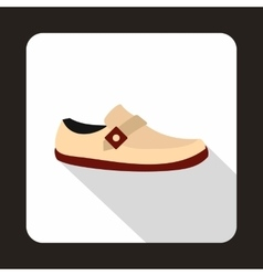 White shoe with red sole icon flat style vector
