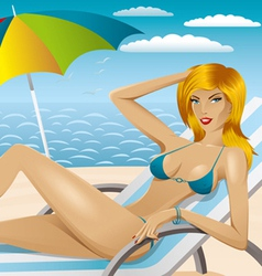 Sexy woman in bikini on the beach 4 vector