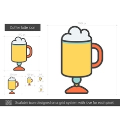 Coffee latte line icon vector