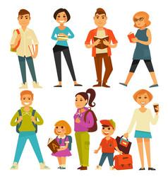 University students and school pupils teenagers vector