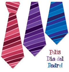 Bright spanish happy fathers day neck tie card in vector
