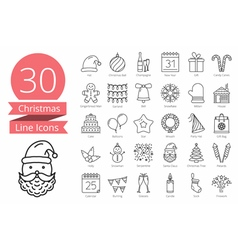 30 Christmas Icons vector image