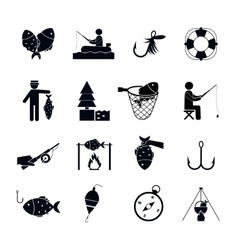 Fishing icon black vector
