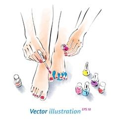 Home pedicure vector image