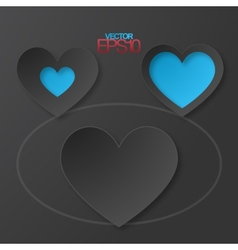 Modern flat design hearts with drop shadows vector