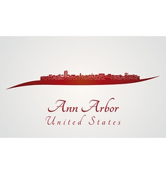 Ann arbor skyline in red vector