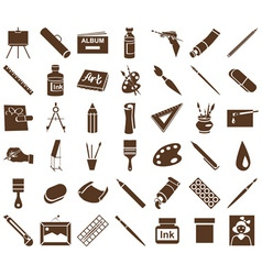 Attributes of art icons on white vector