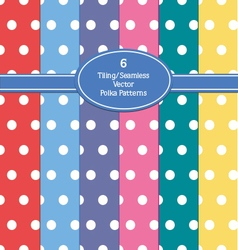 6 seamless polka dot patterns vector