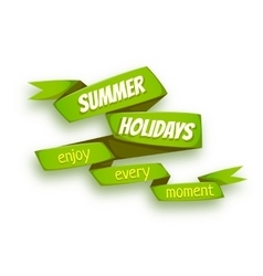 Green ribbon with summer vector