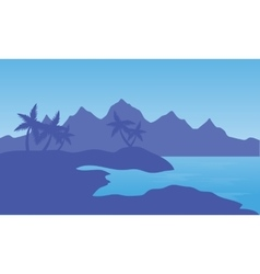 beach and mountain vector image