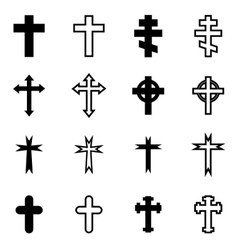 Black crosses icon set vector