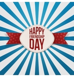 Friendship day festive badge and red ribbon vector