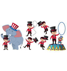 Animal trainer in the circus with elephant and vector