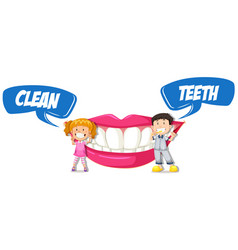 Boy and girl with clean teeth vector
