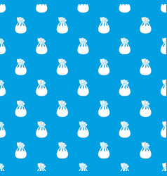 christmas bag of santa claus pattern seamless blue vector image vector image
