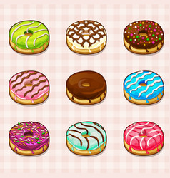 Donuts with different fillings and colored vector