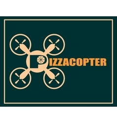 Drone quadrocopter icon Pizzacopter text vector image vector image