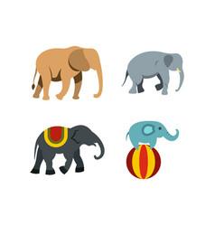 elephant icon set flat style vector image