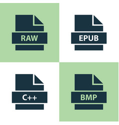 file icons set collection of bitmap shape vector image