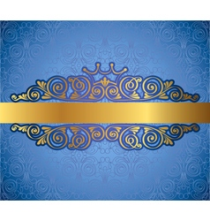 Gold antique frame on blue decorative background vector