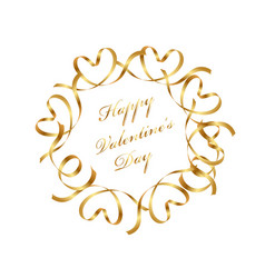 gold valentine message frame with text space vector image vector image