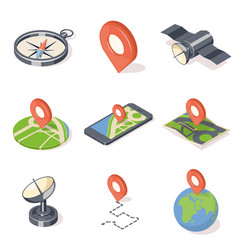 gps navigation icons set vector image vector image