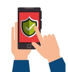 Hand holds smartphone protection shield design vector