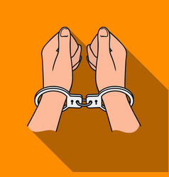 hands in handcuffs icon in flat style isolated on vector image vector image