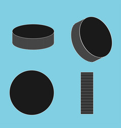 ice hockey pucks set for sports design vector image vector image