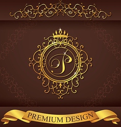Letter p luxury logo template flourishes vector