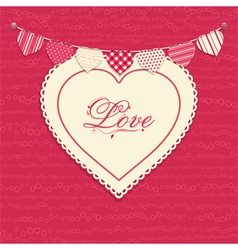 Love heart and bunting background vector