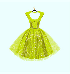 Party lime green dress with fancy decor vector