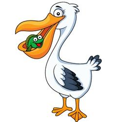 Pelican cartoon eating fish vector