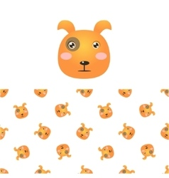 Puppy Head Icon And Pattern vector image vector image
