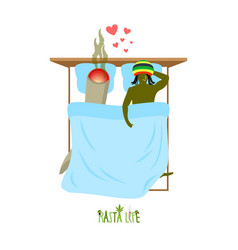 rasta life rastaman and joint or spliff in bed vector image