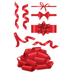 Red ribbon - realistic set of objects vector