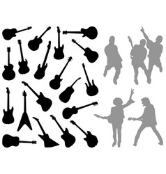 silhouettes of different guitars vector image