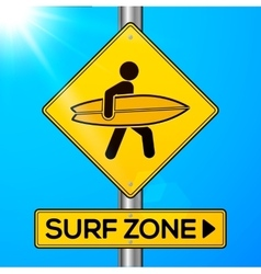 Surf zone yellow road sign on sky background vector