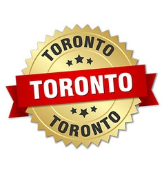 Toronto round golden badge with red ribbon vector
