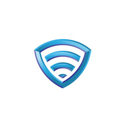 Wi-fi icon shield 3d vector