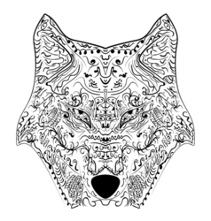 wolf head zentangle stylized freehand pencil vector image vector image