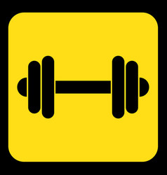 Yellow black information sign - dumbbell icon vector