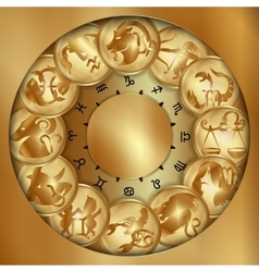 zodiacs signs on a gold disks uno vector image vector image
